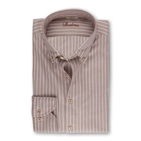 Beige Striped Casual Slimline Shirt