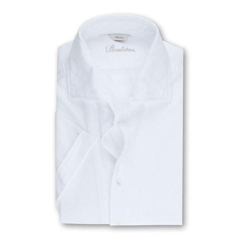White Cotton Terry Slimline Shirt