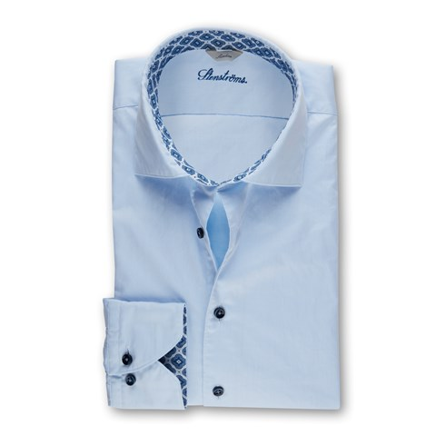 Blue Slimline Shirt With Contrast Collar