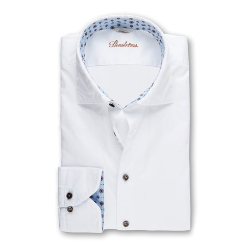 White Casual Slimline Shirt With Blue Contrast