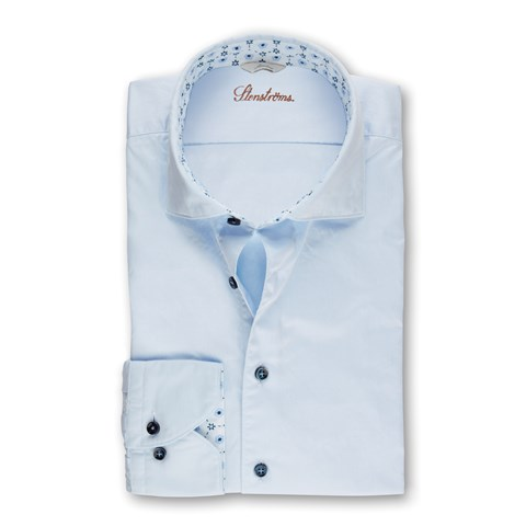 Light Blue Casual Slimline Shirt With Blue Contrast