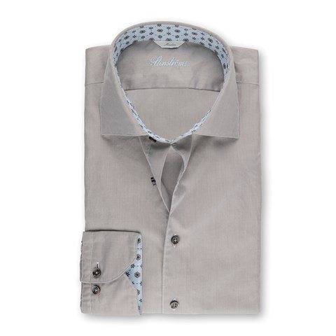 Beige Casual Slimline Shirt With Blue Contrast