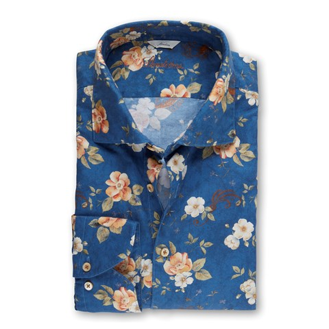 Blue Vivid Flower Patterned Slimline Shirt