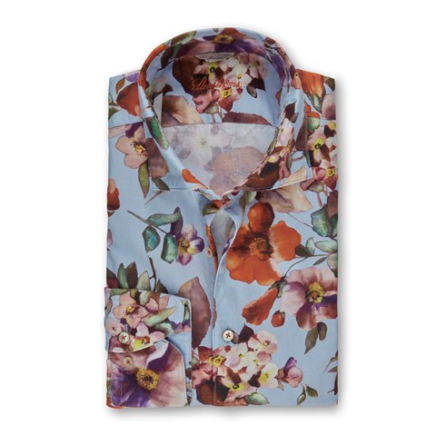 Casual Flower Patterned Slimline Shirt
