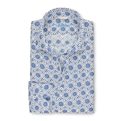 Flower Patterned Linen Slimline Shirt
