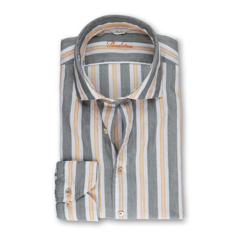 Green/Yellow Striped Casual Slimline Shirt