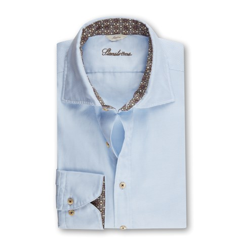 Light Blue Casual Slimline Shirt W Contrast