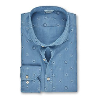 Light Blue Patterned Denim Slimline Shirt