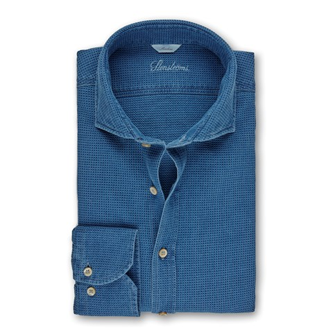 Blue Textured Denim Slimline Shirt