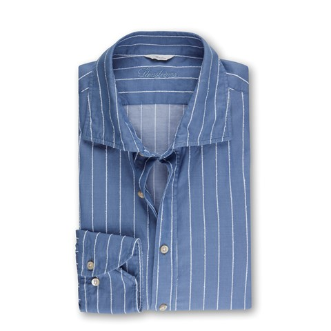 Blue Striped Casual Slimline Shirt