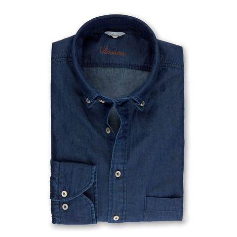 Navy Denim Slimline Pop-Over Shirt