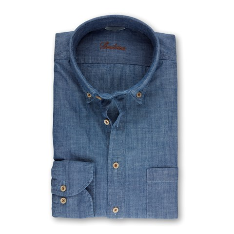 Denim Blue Slimline Pop-Over Shirt