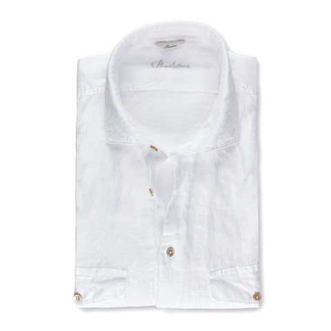 White Linen Slimline Shirt With Double Pockets