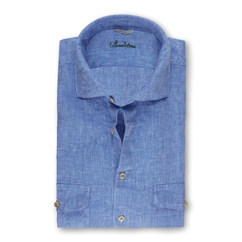Light Blue Linen Slimline Shirt With Double Pockets