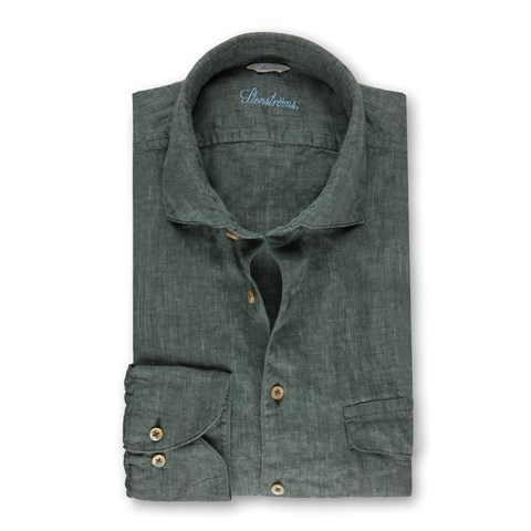 Forest Green Linen Slimline Shirt With Double Pockets