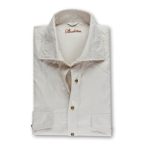 Slimline Shirt Casual W Pockets Beige