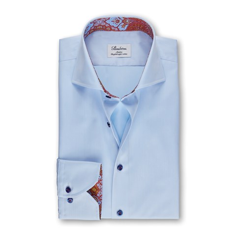 Light Blue Slimline Shirt With Contrast