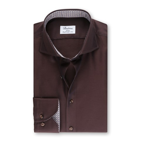 Brown Slimline Shirt Patterned Contrast