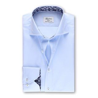 Light Blue Slimline Shirt Floral Contrast
