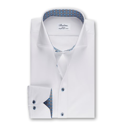 Slimline Shirt With Medallion Contrast White