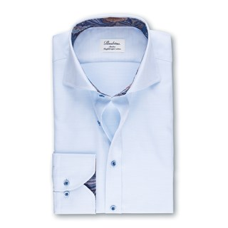 Light Blue Slimline Shirt With Contrast Details, Extra Long Sleeves