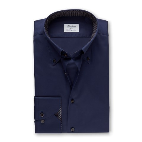 Navy Slimline Shirt With Contrast