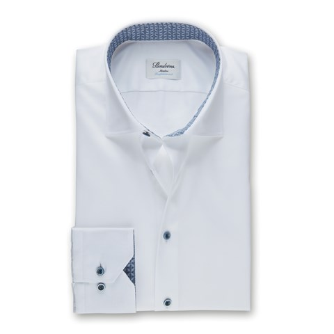 White Slimline Shirt With Blue Contrast, Stretch