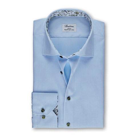 Light Blue Slimline Shirt With Floral Contrast