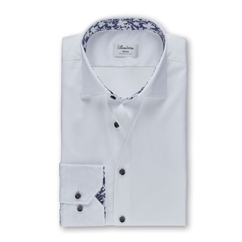White Slimline Shirt With Blue Details