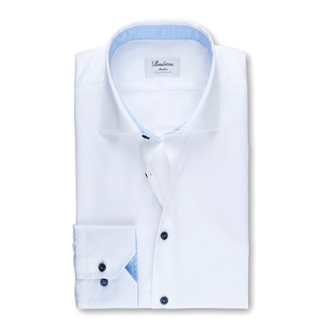 White Slimline Shirt W Contrast, Stretch