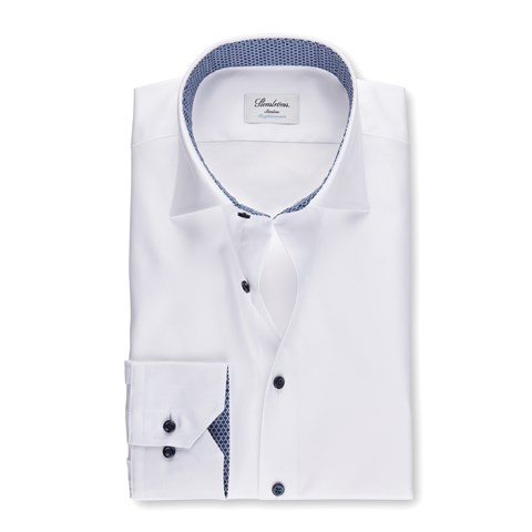White Slimline Shirt With Contrast, Stretch