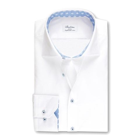 White Slimline Shirt With Contrast