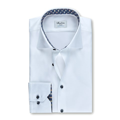 White Slimline Shirt w. Contrast, Stretch