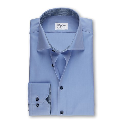Blue Slimline Shirt With Contrast