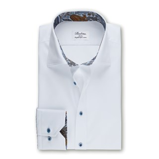 White Slimline Shirt With Paisley Details