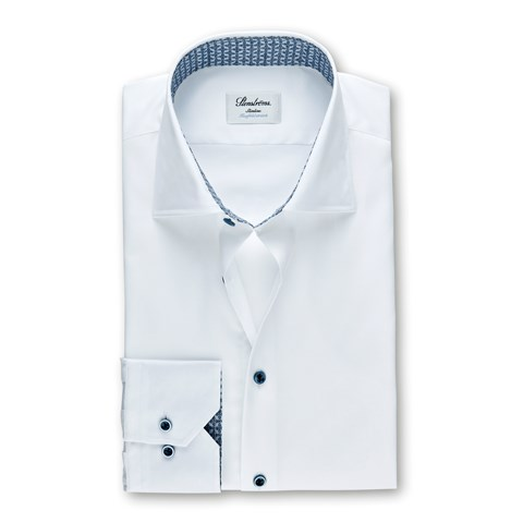 White Slimline Shirt With Contrast Details, Stretch