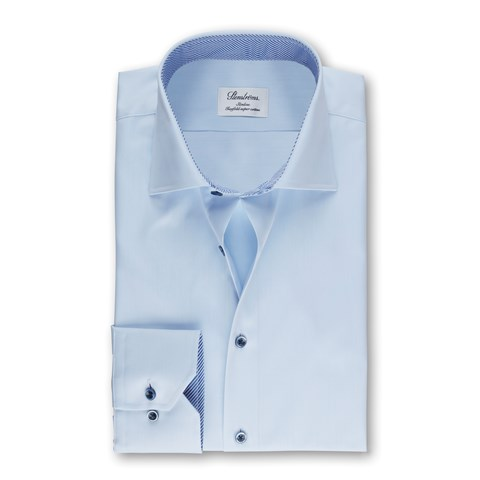 Light Blue Slimline Shirt With Striped Contrast