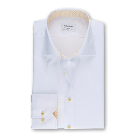 White Slimline Shirt With Yellow Contrast