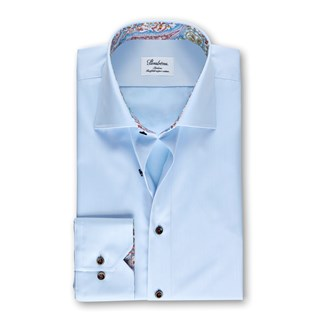 Light Blue Slimline Shirt With Paisley Contrast