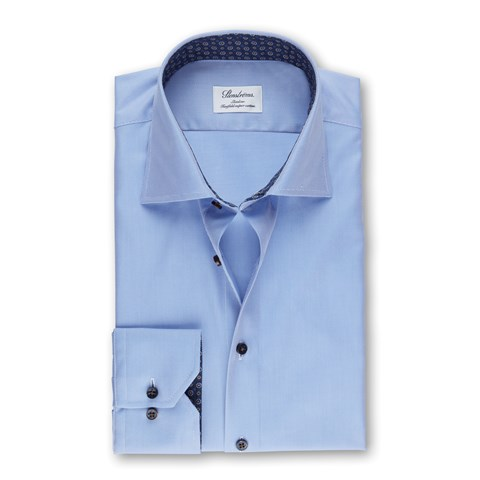 Blue Micro Striped Slimline Shirt With Contrast
