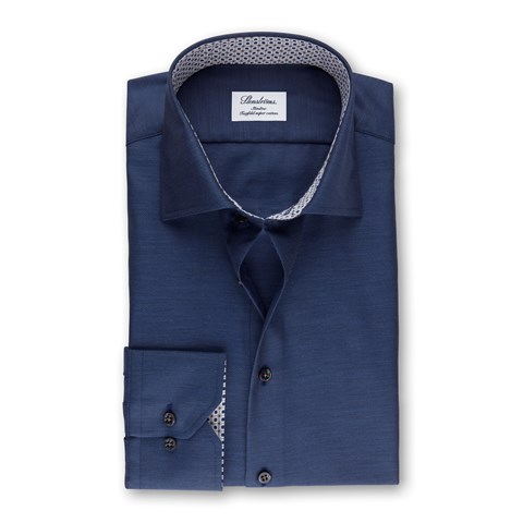 Navy Micro Striped Slimline Shirt With Contrast