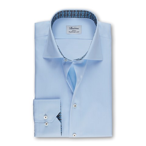 Light Blue Slimline Shirt With Kaleidoscope Contrast
