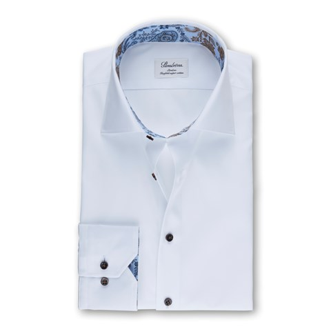 White Slimline Shirt With Paisley & Flowers Contrast