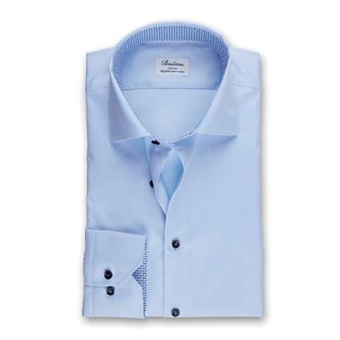Light Blue Slimline Shirt W Contrast