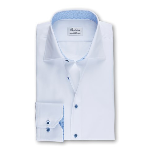 White Slimline Shirt With Contrast Details