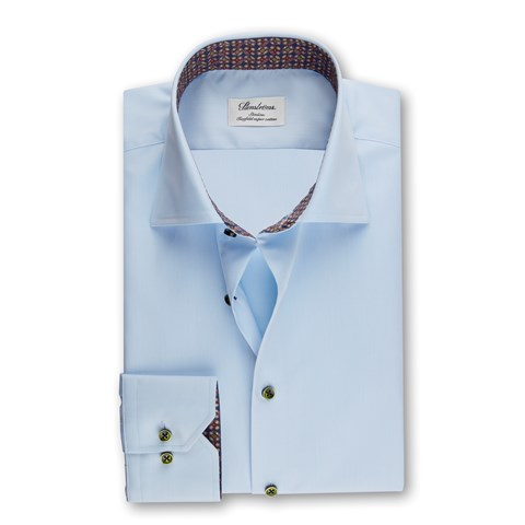 Light Blue Slimline Shirt w. Contrast