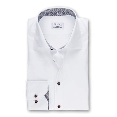 White Slimline Shirt With Contrast Details,  Extra long Sleeves