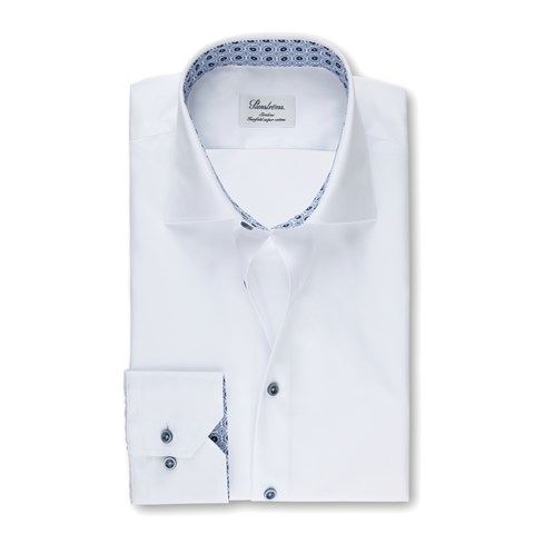 White Slimline Shirt With Contrast, Extra Long Sleeves