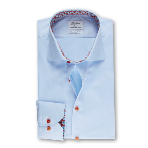 Light Blue Slimline Shirt With Contrast, XL-sleeves