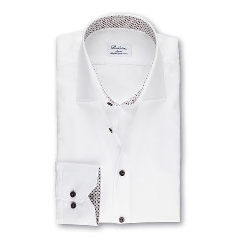 White Slimline Shirt With Geometric Contrast, Extra Long Sleeves